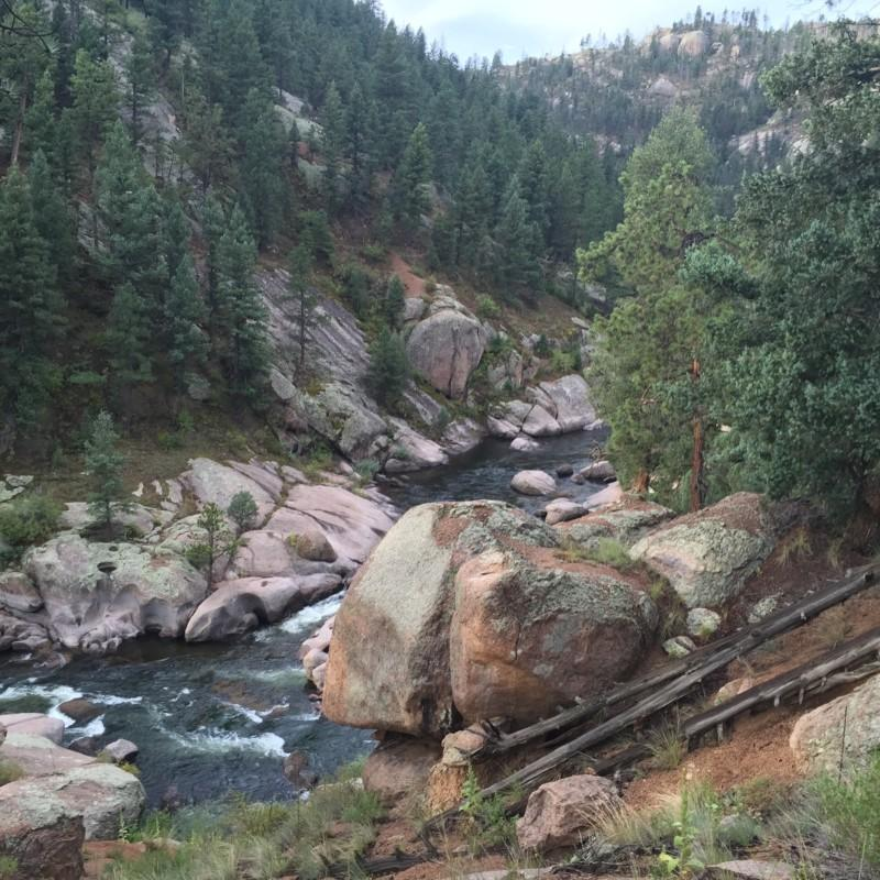 A waterfall of the South Platte River in Cheesman Canyon