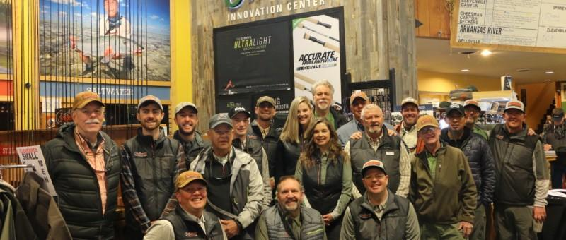 Large group of people in the store and ready to go fly fishing
