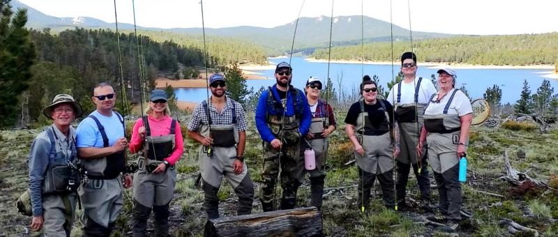 Group photo of streamside fly fishing class