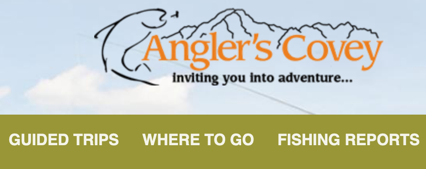 Image of Angler's Covey menu bar for fishing reports