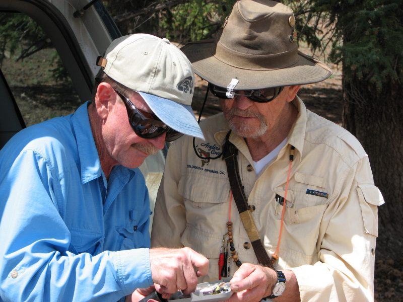 Dave Herber and Carl Roberts check the fly box.